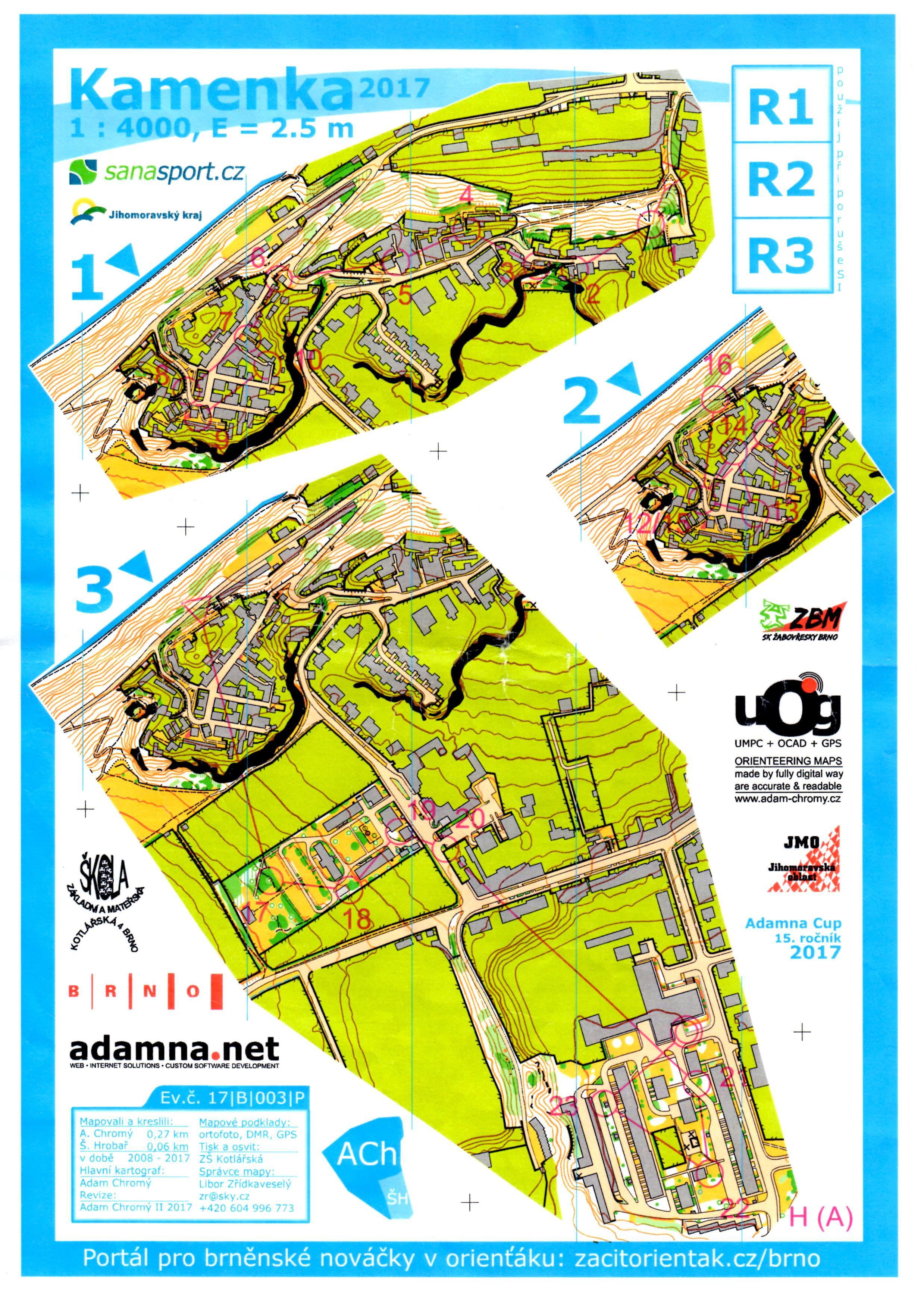 mapa Adamna cupu, trať H